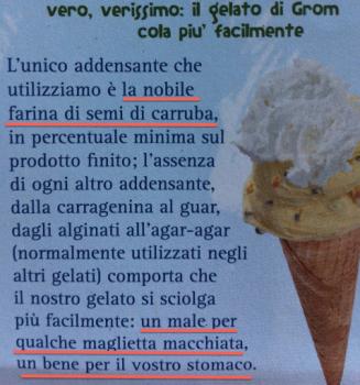 Il depliant di Grom dove si lascia intendere che gli altri gelati potrebbero non essere ottimali per lo stomaco