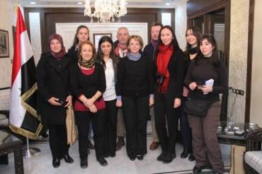 Delegazione diplomatica Assadakah lombardia con il Ministro della Cultura Siriana Loubana Mouchaweh