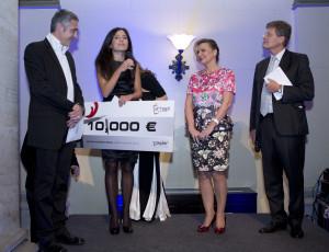 Christian Clerici (attore), Francesca Tonelli(vincitrice), Madlena Zepter, Karl Hohenlohe editor della guida Gault & Millau