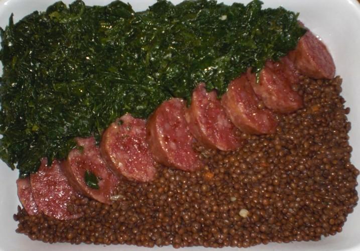 cotechino con lenticchie e spinaci