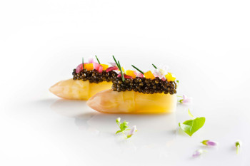White Asparagus with Caviar